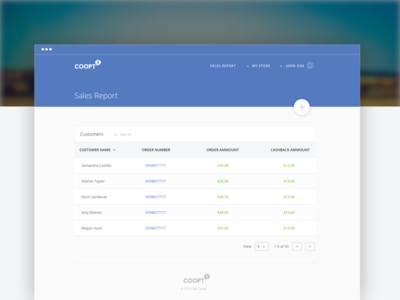 Coopt Backend dashboard ui design material design search clean ui table