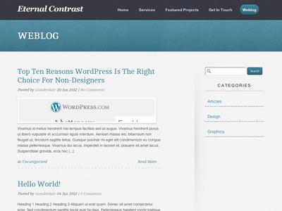New Website Weblog weblog blog wordpress theme cms design blue