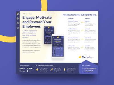 ThrivePass one pager slide app health wellbeing identity document pdf one page mobile marketing print