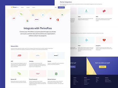 ThrivePass integrations logo ux user ui integrations identity web design