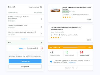 Transcript components report list card course search progress mobile web ux ui design system component