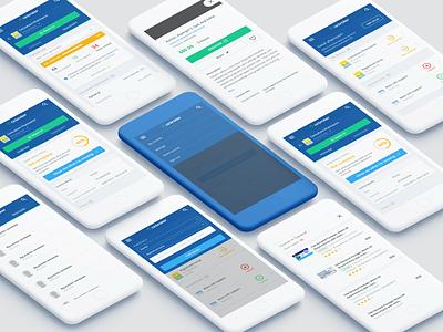 CE Broker mobile web - a few screens clean app ux list status course reports dashboard tracking transcript app ce broker mobile