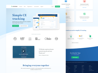 New CE Broker is live! live responsive footer home homepage details security about education design website