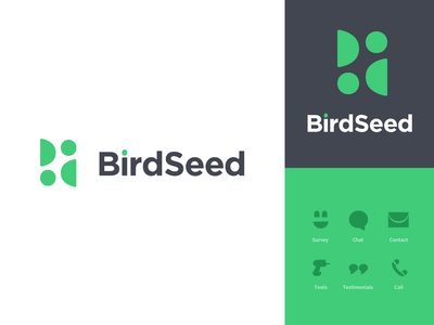 Birdseed Logo informal information icons identity chat bird branding logo