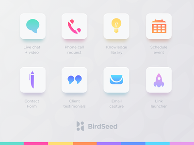 Birdseed engagement tools icons clean fresh rainbow colorful idea chat pen app rocket launch icon design icon birdseed