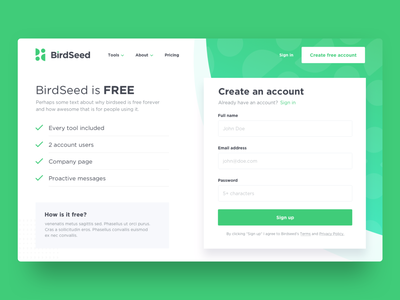 BirdSeed Pricing Page ux  ui ux birdseed branding free web design landing button create account pricing