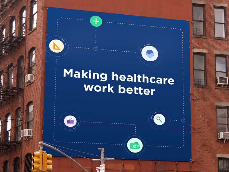 Healthcare Double Entendre branding agency visual  identity illustration icon subway billboard mockup billboard evercheck hosital healthcare logo tag line copy writing branding