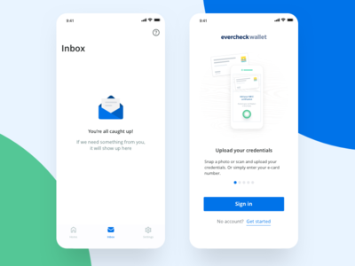 EverCheck Wallet inbox and welcome