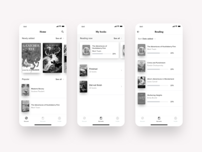 Book subscription app wireframes