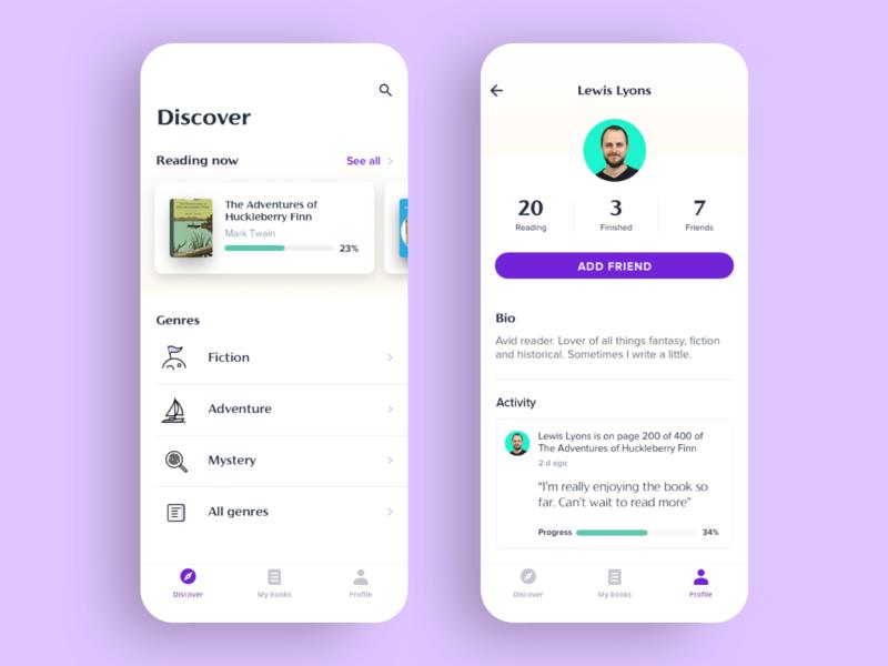 Punctuate reading companion app product design ux ui r-reader activity progress simple clean interface iphone simple purple icons reading app reading books profile
