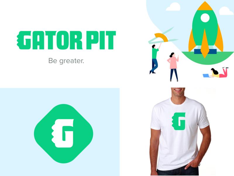 Gator Pit logo high school green g logos simple light fun branding kids illustrative rocker brand logo alligator