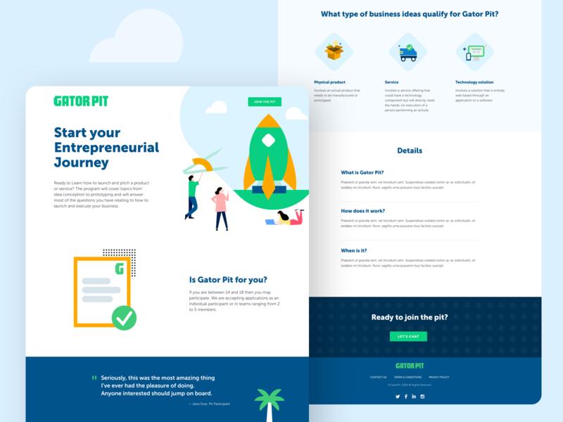 Gator Pit Homepage ui webdesign florida tree idea cartoon web designer homepage modern clean web design illustration rocket gator fun kids web design