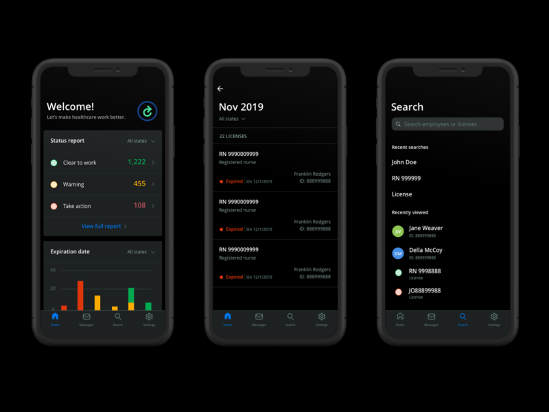 Evercheck App Dark Mode product design app design app dark ui dark healthcare search list chart mobile uiux ui enterprise data apple ios sketch dark mode