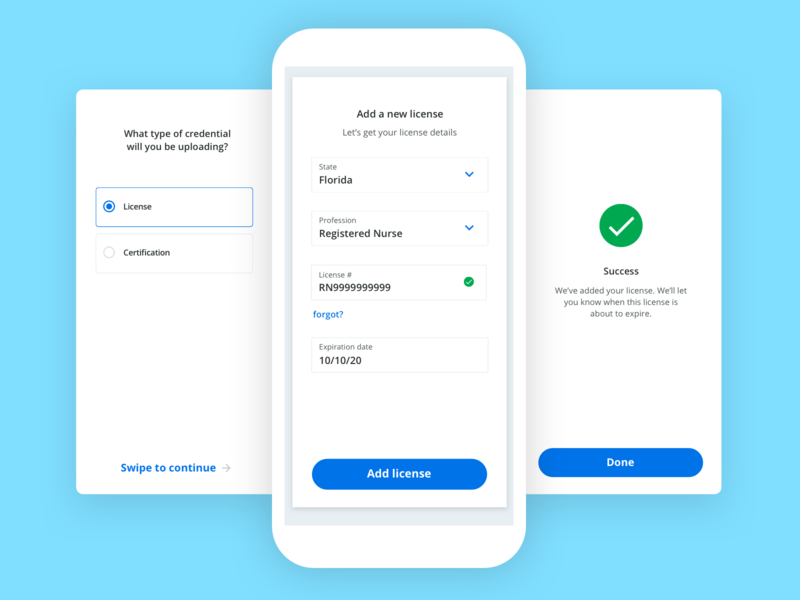 Add license steps turbotax stepper steps iphone ux clean app design add new form field form success check blue button clean mobile interaction swipe card license evercheck