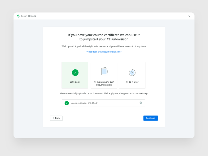 Improved Report CE Flow user experience uiux upload file form upload submission blue modal components flow ux product design button submit interface clean turbo tax report