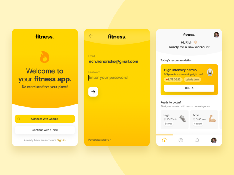 Fitness & Home Workout · App Concept 💪🏼 home routine sport exercise cardio quarantine workout fitness concept gradients app design webdesign ui