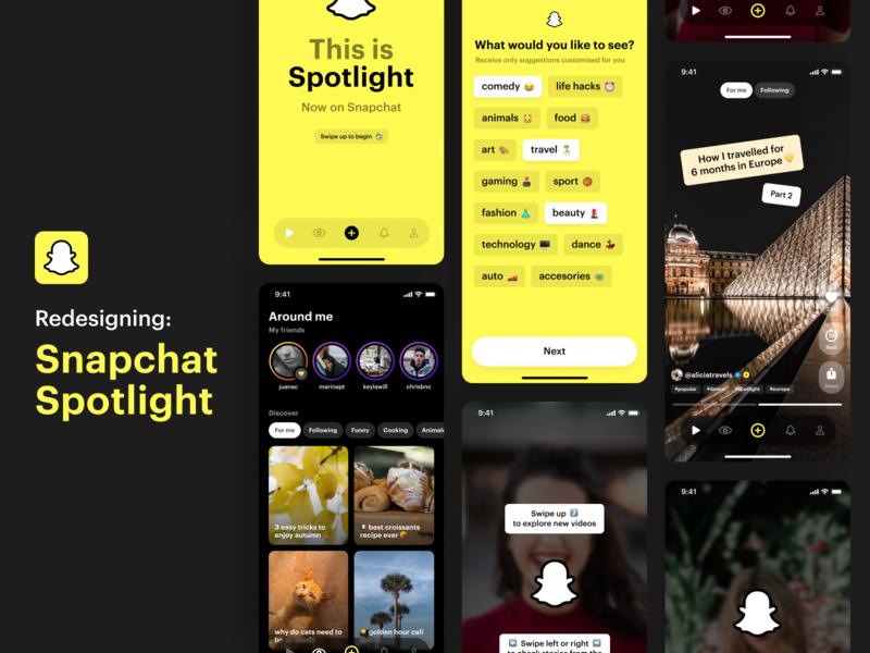 Snapchat Spotlight Concept 👻🔦😉 social network social friends onboarding concept design ui app mobile ios swipe video videos instagram stories tiktok concept spotlight snapchat
