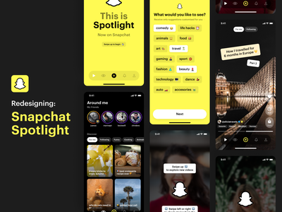 Snapchat Spotlight Concept 👻🔦😉 social network social friends onboarding concept design ui app mobile ios swipe video videos instagram stories tiktok concept spotlight snapchat