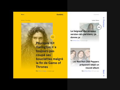 Konbini Redesign Concept minimal clean animation french redesign konbini ux interaction webdesign ui