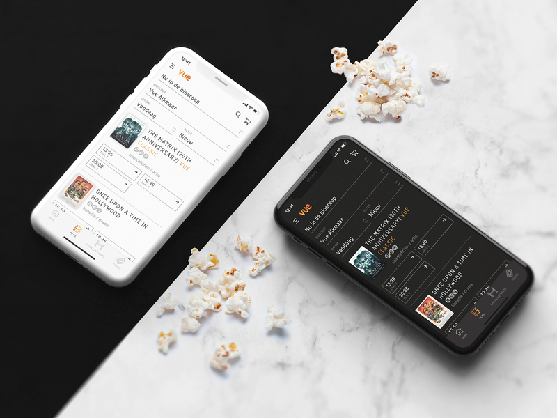 Vue Cinemas app profile specials experience events seats popcorn film venues timetable genres tickets location time filters date light mode dark mode app movie cinema