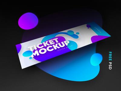 Ticket Mockup – Free PSD