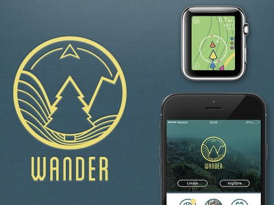 Wander: Social Hiking App hiking app interface smart watch motion graphics apple watch uiux