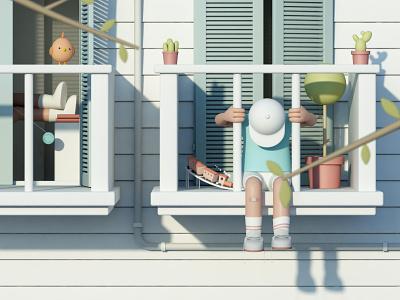 Chilling model animation illustrator artofvisuals 3d 3dmodel photoshop design cinema4d artwork
