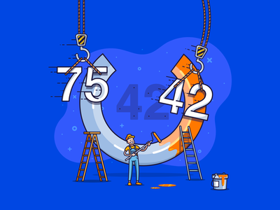 Website authority progression construction bucket ladder paint working man ahrefs seo painter dashboard element interface ui increase graphic authority website outline illustration