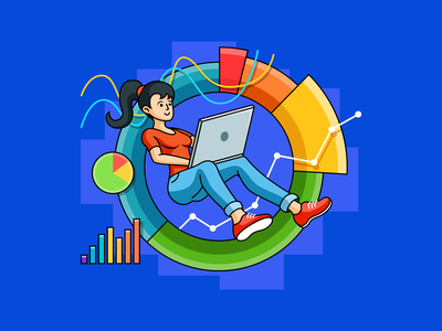 Marketing metrics macbook jeans circle sneakers colorful diagram dashboard analysis floating fit chart marketing metrics girl woman ahrefs laptop seo outline illustration
