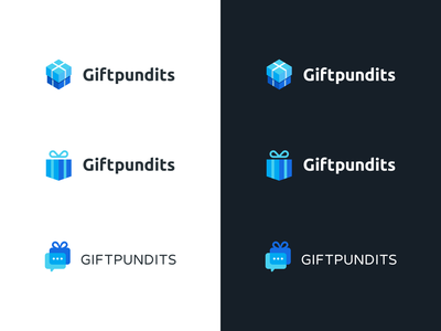 Giftpundits logo search idea versions variants package box design branding research present ribbon gift box sketch ideas gift search logo