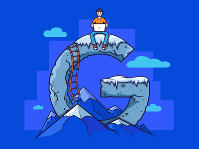 How to get to the top of Google leader position everest serp rating rock clouds alpinism climber mountain ladder laptop man top peak google seo ahrefs outline illustration