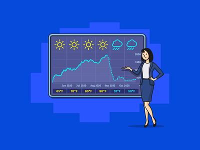 Forecasting Seo Data broadcast climate temperature calendar cloud rain sun traffic channel chart tv prediction host woman data weather forecast ahrefs seo illustration