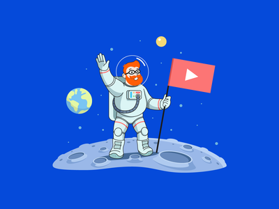 YouTube SEO promotion marketing suit man guy beard illustration seo youtube flag stars landing surface earth sun astronaut cosmonaut moon space ahrefs
