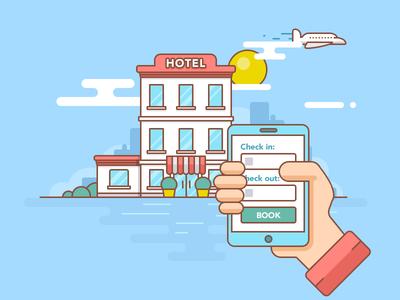 Hotel Booking outline illustration accommodation landscape plane hand app rest plugin travel booking hotel