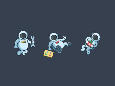 Astronauts illustration icon science astronaut space