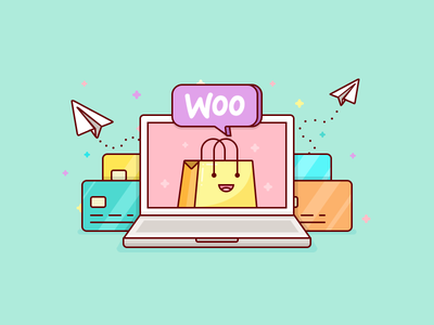 Woocommerce Payments Addon illustration transaction checkout credit store shopping laptop card payment addon commerce woo