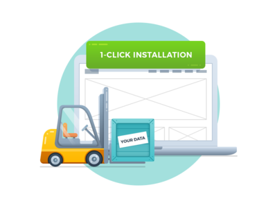 One Click Installation illustration shipment press word upload transfer data laptop transporter install cargo