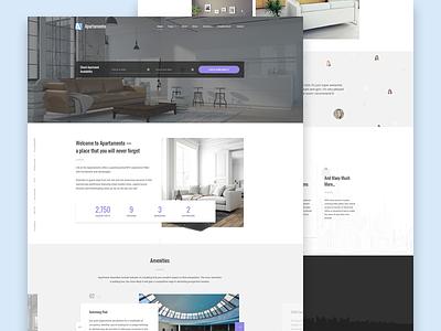 Apartment Rental Theme website ui wordpress web theme reservation rent estate real design booking apartment