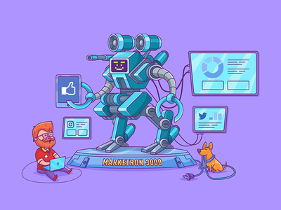 Marketron hi-tech marketing guy dog tech ahrefs robot outline illustration