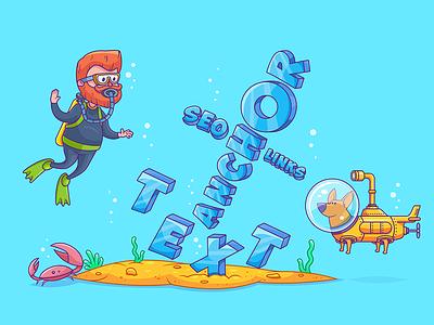 Anchor text illustration seo underwater scuba text submarine dog man ocean diving anchor illustration ahrefs