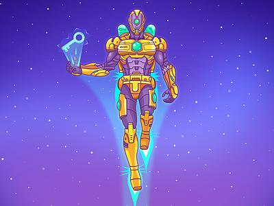 Keyword Explorer Robot explorer analysis fly illustration bot key fantastic keyword seo space robot