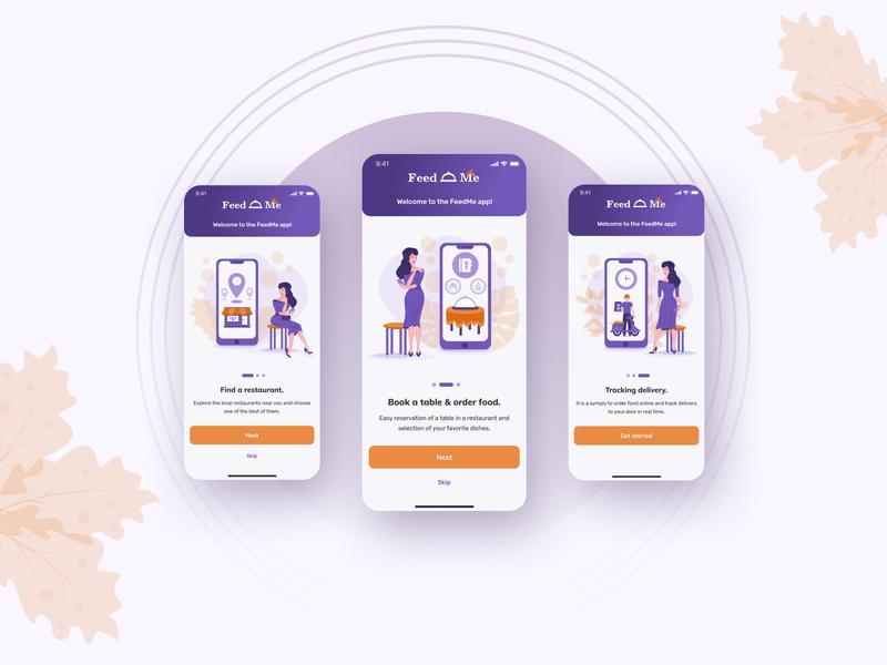 Onboarding for FeedMe - restaurant online mobile app ui  ux ux ui table reservation table booking restaurant food delivery mobile app design design app design