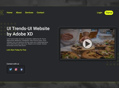 Dark Theme Website Design - Adobe XD