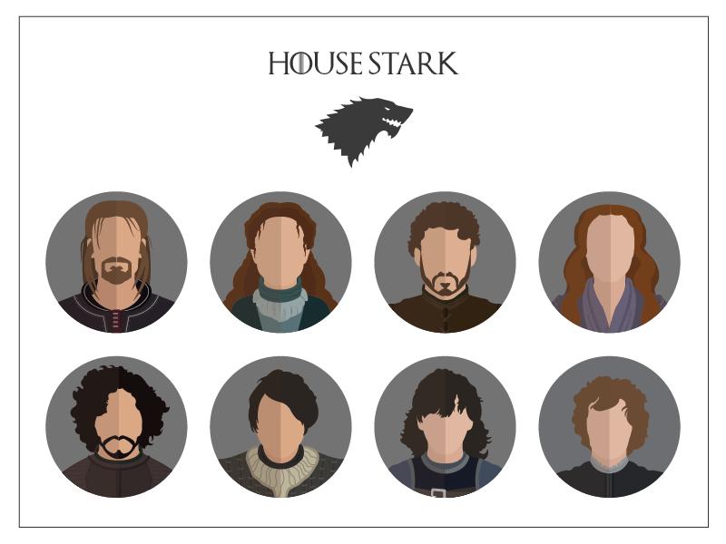 Game of Thrones – House Stark game of thrones stark jon snow wolf hbo tv flat icons vector digital illustration