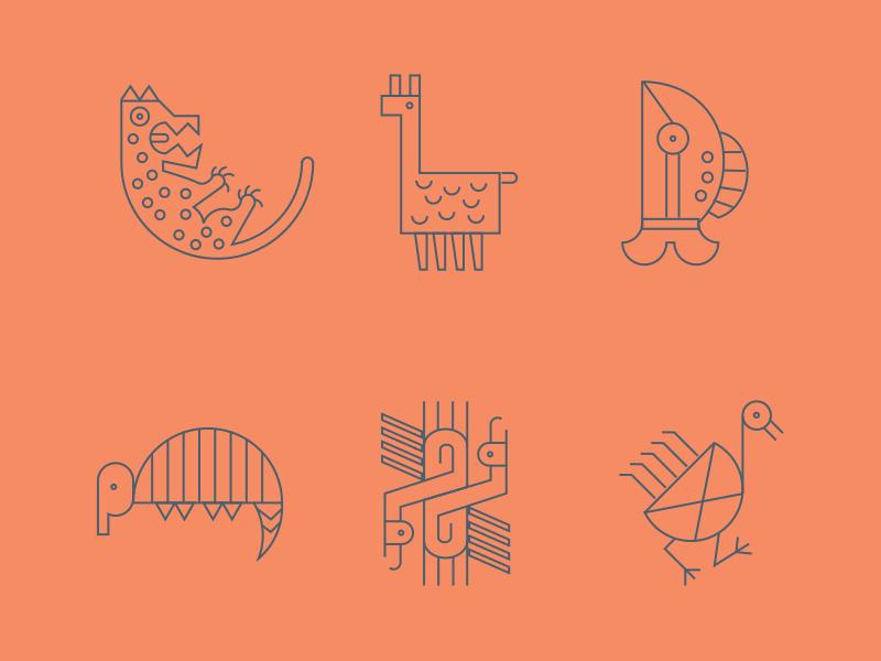 Fauna Precolombina images vector animals colombia symbols icons