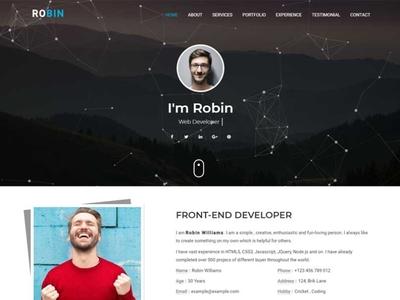 Robin - Personal Portfolio HTML Template template clean html5 creative portfolio onepage bootstrap personal responsive html template