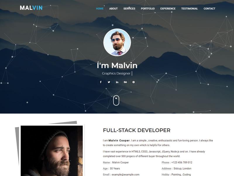 Malvin   Personal Portfolio HTML Landing Page Template responsive portfolio onepage minimal template html html5 css3 creative clean bootstrap