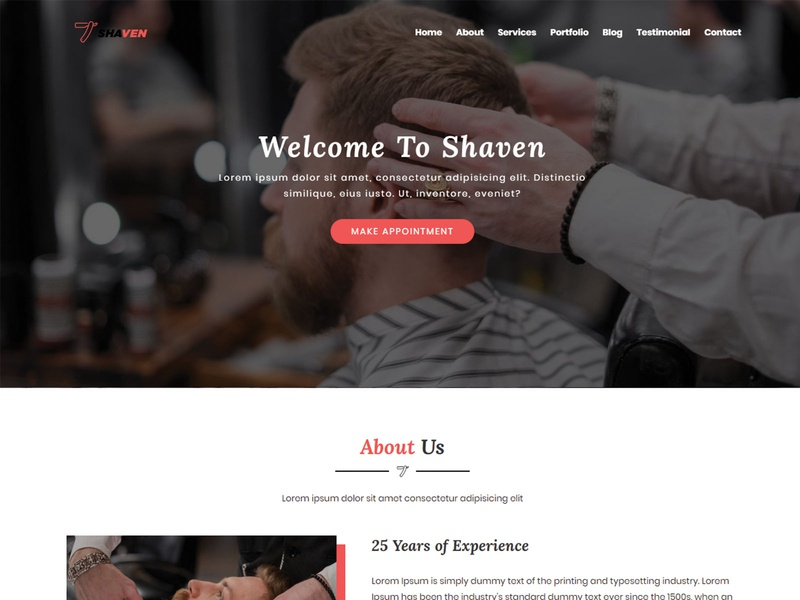 Shaven-Barber Shop HTML Landing Page Template business corporate responsive portfolio onepage template html html5 css3 creative clean bootstrap