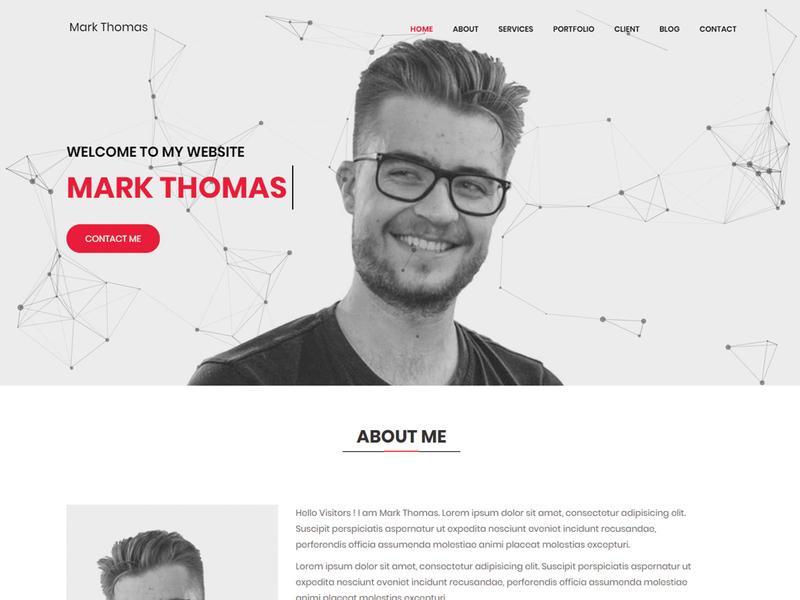 Mark Thomas-Personal Portfolio HTML Landing Page Template minimal personal freelancer html template cv responsive portfolio onepage template html html5 css3 creative clean bootstrap