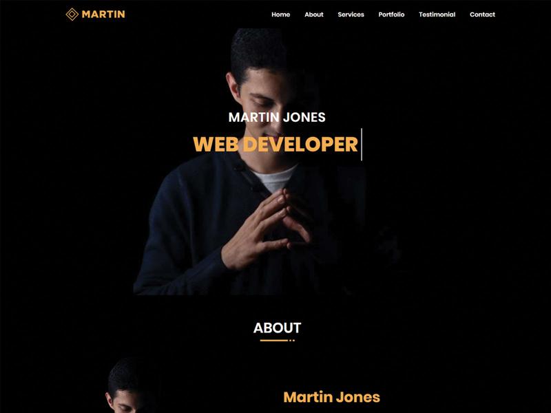 Martin-Personal Portfolio Bootstrap 4 Template web design html template cv freelancer minimal personal responsive portfolio onepage template html html5 css3 creative clean bootstrap